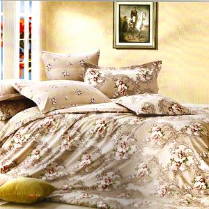 Elegant Beige Cotton Double Bedsheet With Floral Print
