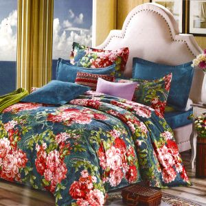 Beautiful Teal Blue Cotton Double Bedsheet With Red Floral Print