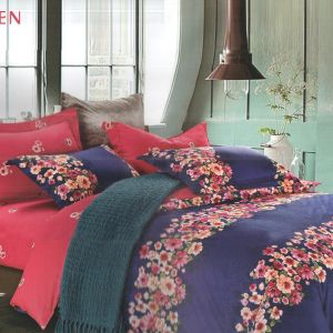 Lovely Blue Cotton Double Bedsheet With Floral Print