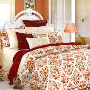Elegant Off White U0026 Maroon Cotton Double Bedsheet With Floral Print