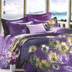 Purple Cotton Double Bedsheet With Colorful Spreaded Abstract Print