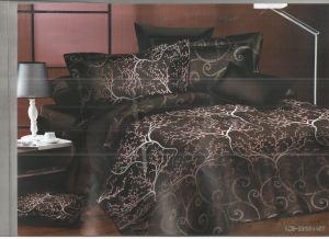 Dark Brown Polyester Double Bedsheet With Spreaded Tree Print