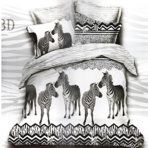 White & Black Polyester Double Bedsheet With Zebra Print