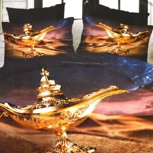 Soothing Blue & Brown Polyester Double Bedsheet With Contemporary Print