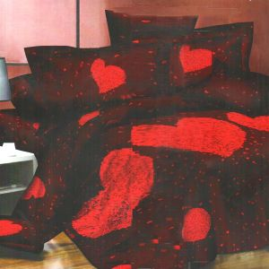 Brown & Red Polyester Double Bedsheet With Huge Heart Print