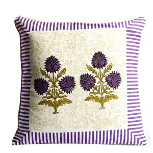 White, Purple & Green Cotton Cushion Cover Set With Floral & Striped Print