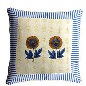 Off White & Blue Cotton Cushion Cover Set With Floral & Block Print