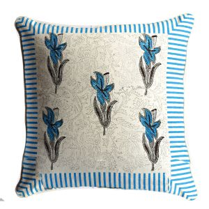 Off White & Blue Cotton Cushion Cover Set With Block Print
