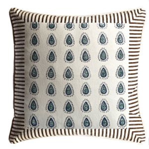 Off White, Brown & Navy Cotton Cushion Cover Set With Block Print
