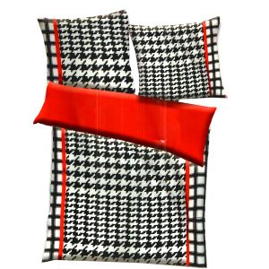 Black, White & Red Polyester Checkered Print Double Bed Ac Quilt