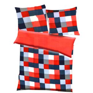 Red, Blue & White Polyester Checkered Print Double Bed Ac Quilt