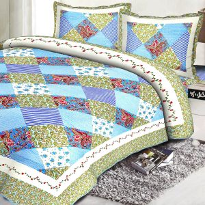 Multicolor Cotton Contemporary Print Double Bed Cover 14