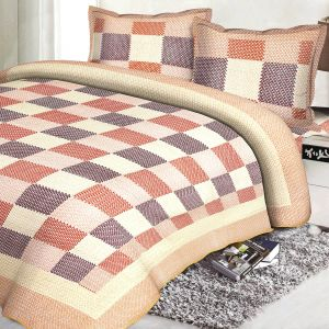 Multicolor Cotton Contemporary Print Double Bed Cover 19