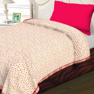 White, Pink & Yellow Cotton Floral & Stripes Print Single Bed Dohar