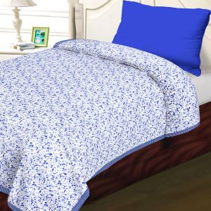 White & Blue Cotton Floral & Chekered Print Single Bed Dohar