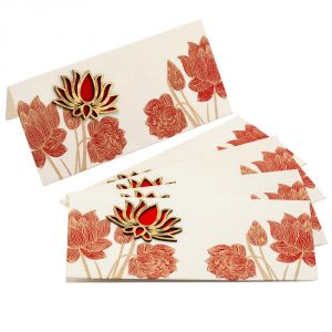 White & Red Floral Print Fancy Handmade Envelope (pack Of 5)- En1701