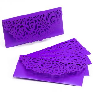 Purple Floral Cut Design Fancy Handmade Envelope (pack Of 5)- En1702