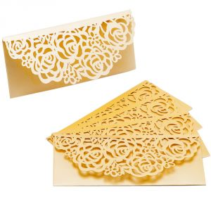 Gold Shade Floral Cut Design Handmade Envelope (pack Of 5)- En1703