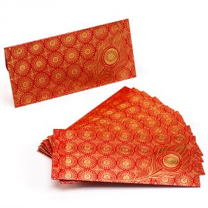 Red & Gold Peacock Leaf Design Handmade Envelope (pack Of 10)- En1704