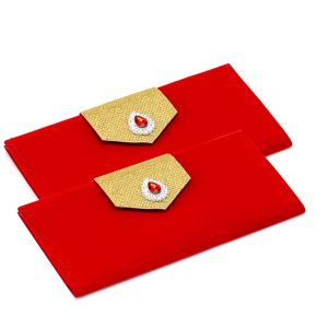 Solid Red Elegant Handmade Envelope With Studded Kundan (pack Of 2)- En1708