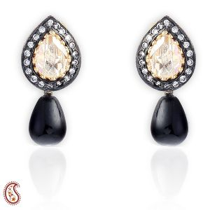 Yellow Cz Enamel Earrings With Black Onyx Pearl Drop