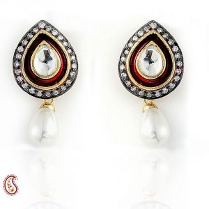 Kundan Enamel And Cz Earrings With Cultured Pearl Drop