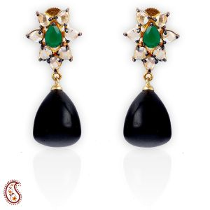 Pear-cut White Czs And Emerald With Black Bead Drop Earring