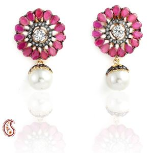 Pear-cut Rubies And White Czs Flora Stud And Pearl Drop Earrings