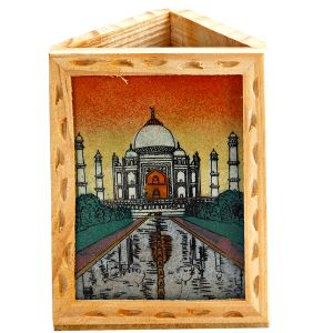 Gemstone Taj Mahal Wooden Pen Holder