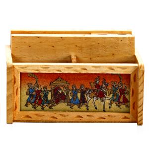 Wooden Pen And Paper Holder With Gemstone Accented Wedding Procession Motifs