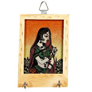 Wooden Gemstone Bani Thani Painting Key Hanger