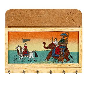 Beige Wooden Key Hanger With Gemstone Dust With Ambabari & Horse