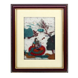 Dark Wood Gemstone Lady With Peacock Motif Wall Painting