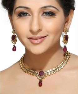 Imititation Jewellery Sets - White Teardrop Kundans and Rubies Necklace Set