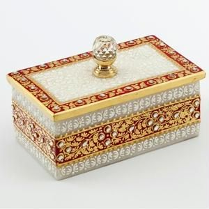 Marble Handicrafts - Gold Embossed Jewellery Box with Crystal Knob