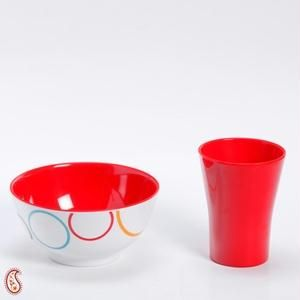 Red And White Circle Print Melamine Tumbler Set