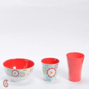 Watercolor Floral Print Melamine Bowl Tumbler Set