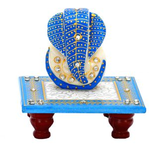 Stone Studded Lord Ganesh In Blue On Marble Chowki