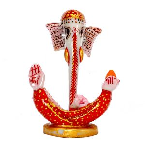 Resin Crafted Half Ganesh Idol With Handpainted Designs In Red And Gold