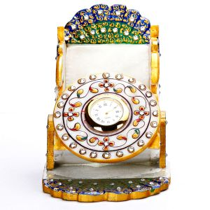 Marble Handicrafts - Blue Peacock Style Marble Watch with Mobile Holder