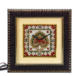 Marble Handicrafts - Marble Wall Clock with Dual Dancing Peacock Motif