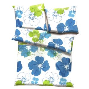 White, Blue & Green Polyester Floral Print Single Bed Ac Quilt