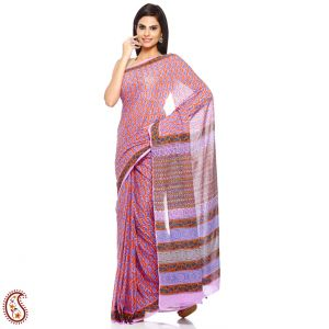 Light Red And Purple Keri Design Pure Cotton Block Print Saree