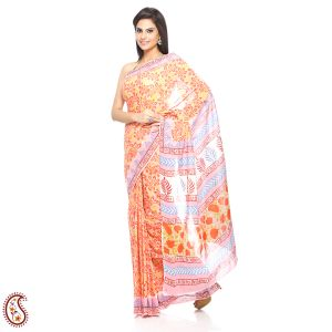 Tropical Floral Print Pure Cotton Saree In Flame Red And Orange