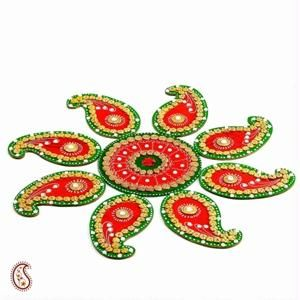 Red And Green Handmade Wood Clay Floral Floor Art