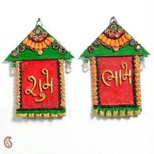 Hut Design Wall Art Hanging With Shubh And Labh