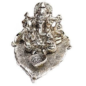 Silver Finish Metal Ganesh With Diya
