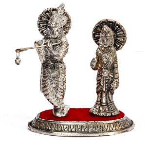 Metal Radha Krishna Standing On Red Velvet Base