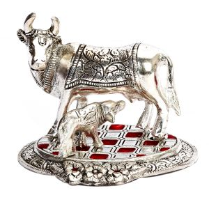 Cow & Calf Showpiece With Red & Silver Chekered Base