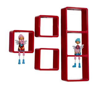 Home Utility Furniture - Hot Red Square Shape Wall Shelves
